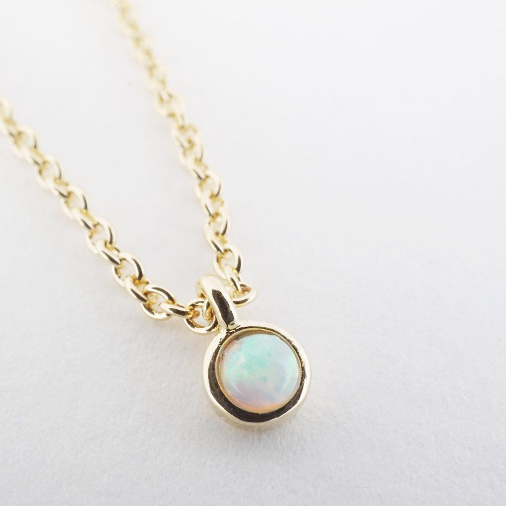 Opal Bezel Set Necklace Necklaces HONEYCAT Jewelry