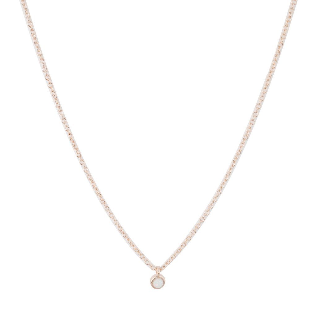Opal Bezel Set Necklace Necklaces HONEYCAT Jewelry Rose Gold