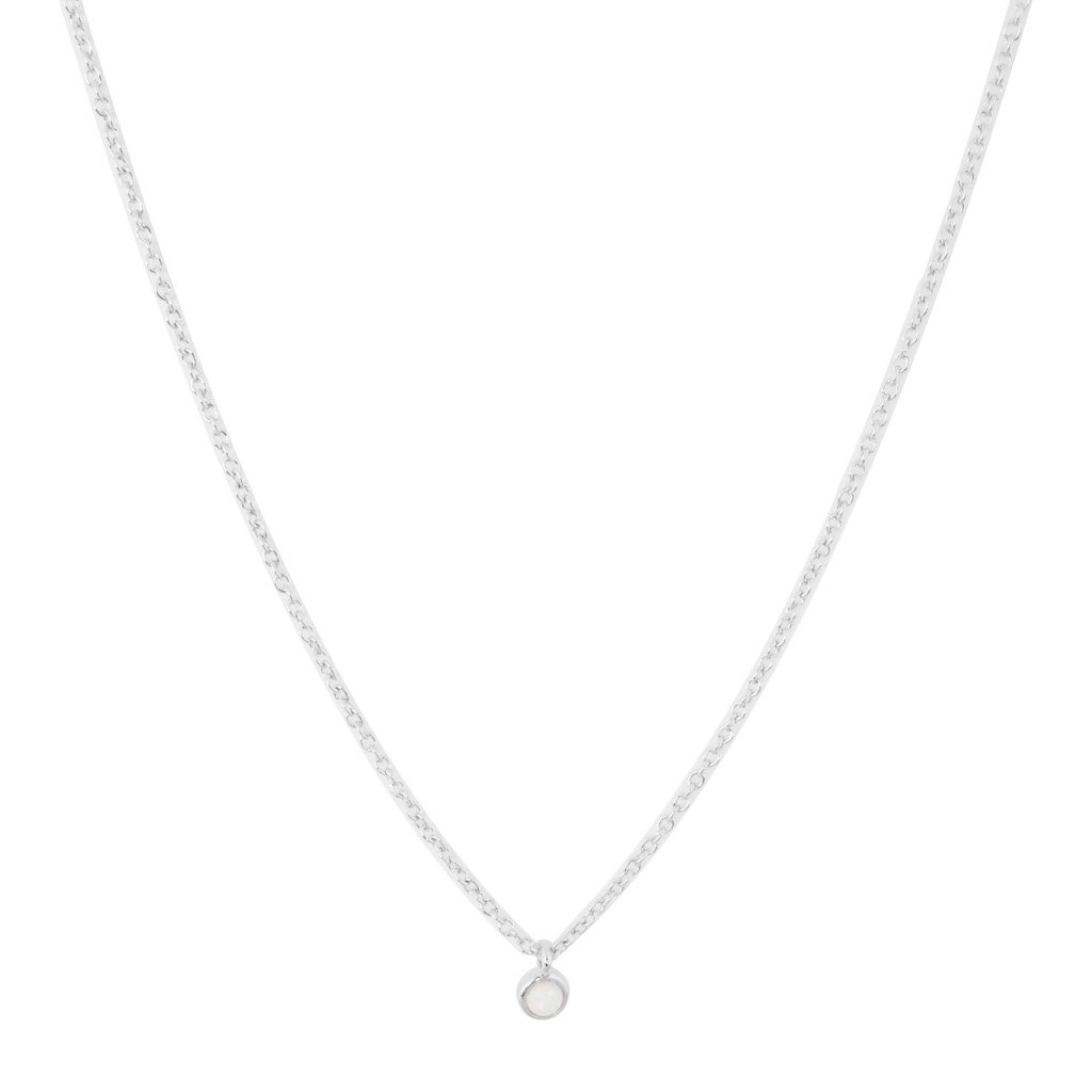 Opal Bezel Set Necklace Necklaces HONEYCAT Jewelry Silver
