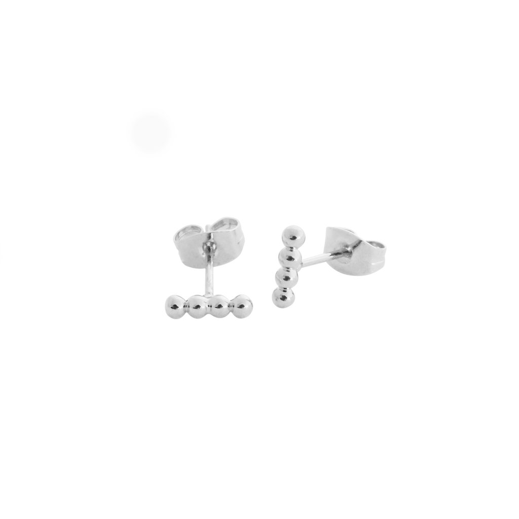 Paige Beaded Studs Earrings HONEYCAT Jewelry Silver