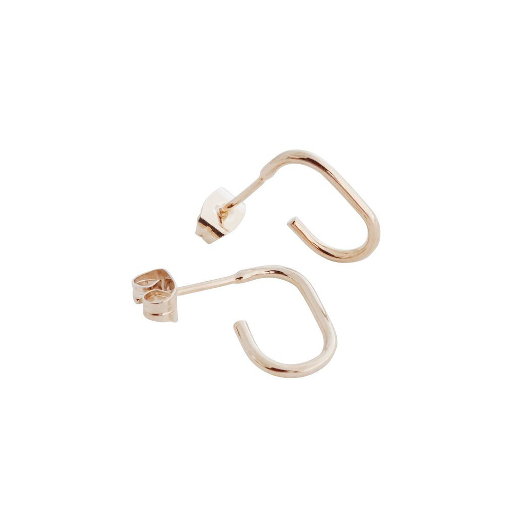 Paulette Oblong Hoops Earrings HONEYCAT Jewelry Rose Gold