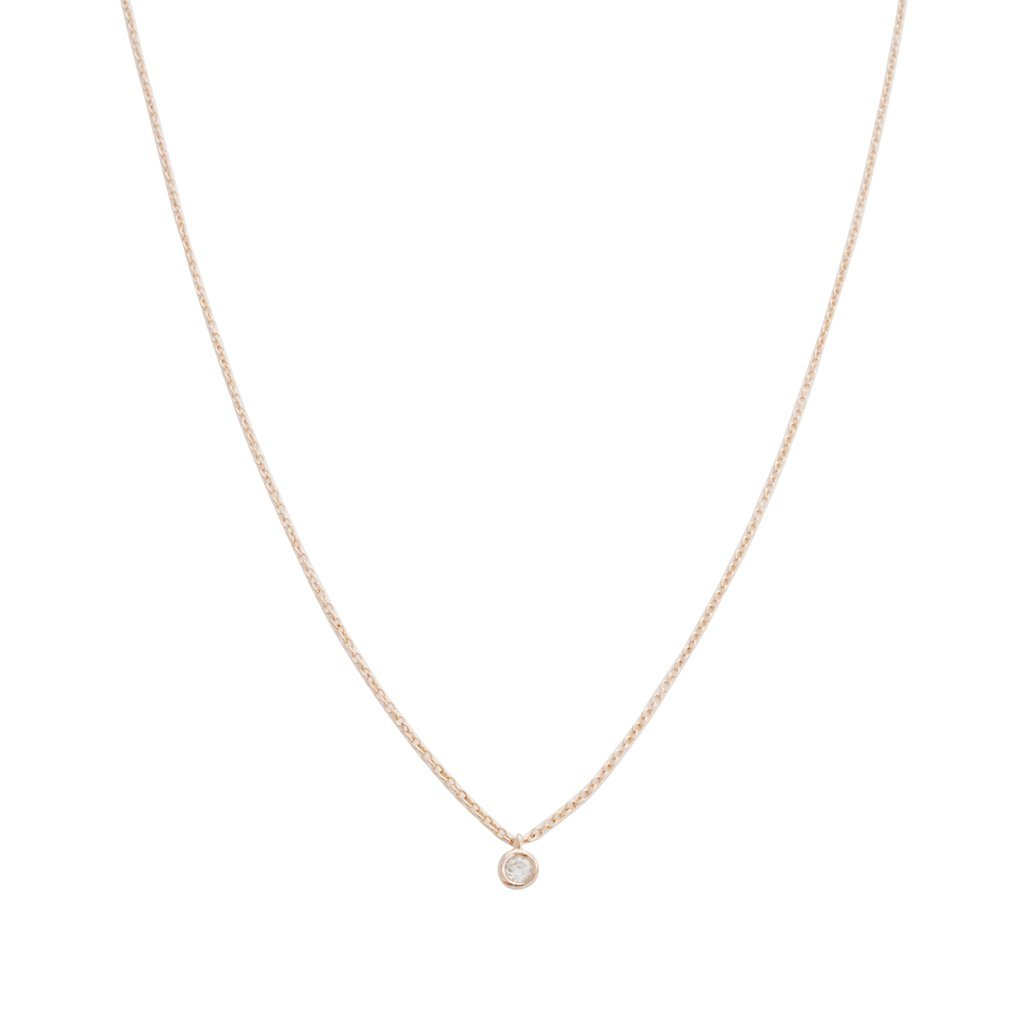 Petite Solitaire Necklace Necklaces HONEYCAT Jewelry Rose Gold