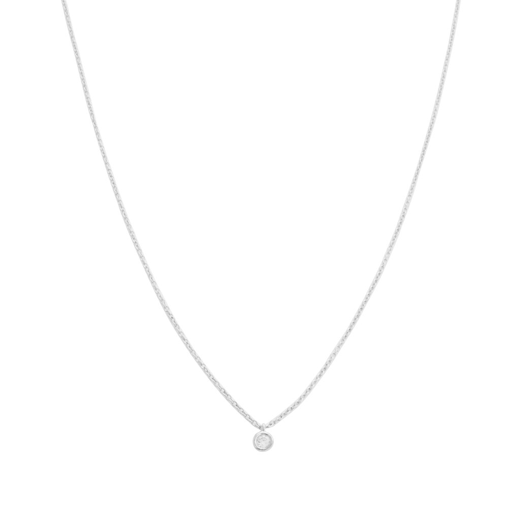 Petite Solitaire Necklace Necklaces HONEYCAT Jewelry Silver