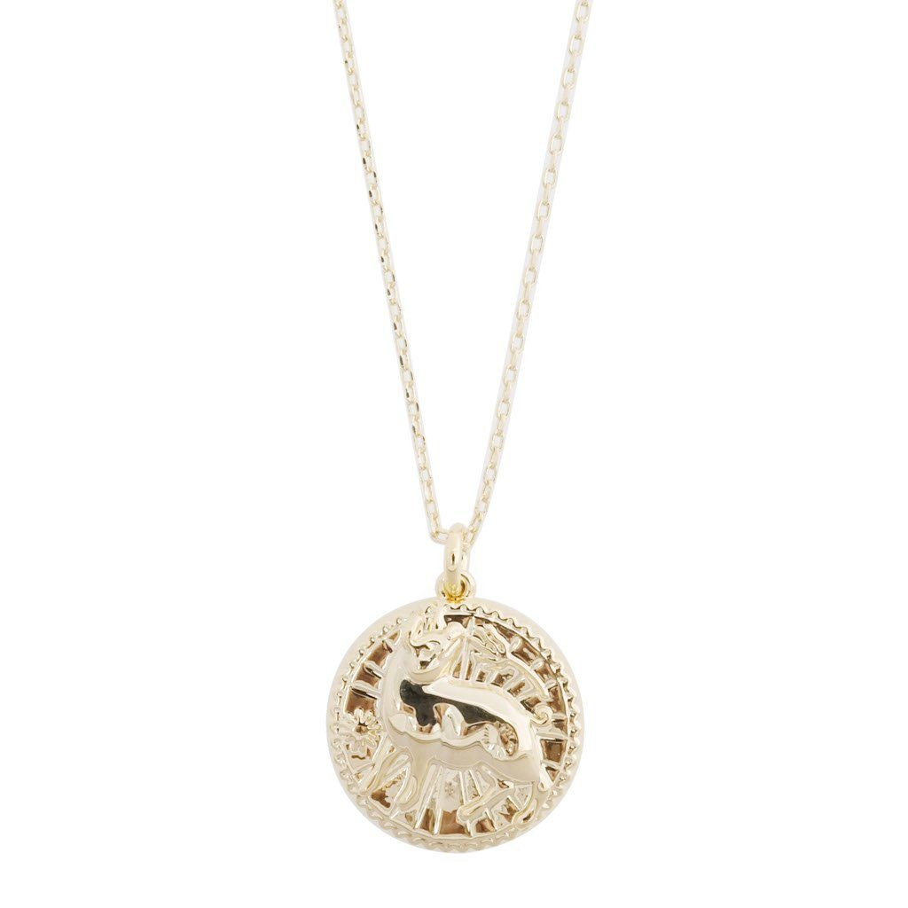 Chinese Zodiac Coin Necklace - Pig Necklaces HONEYCAT Jewelry Gold