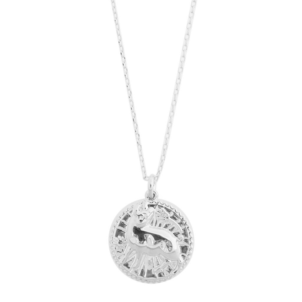 Chinese Zodiac Coin Necklace - Pig Necklaces HONEYCAT Jewelry Silver