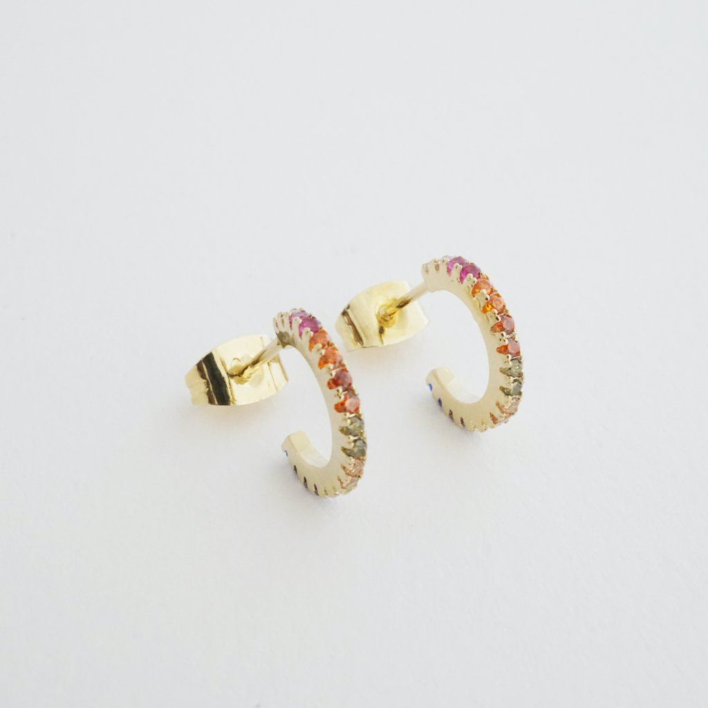 Rainbow Crystal Huggie Hoops Earrings HONEYCAT Jewelry