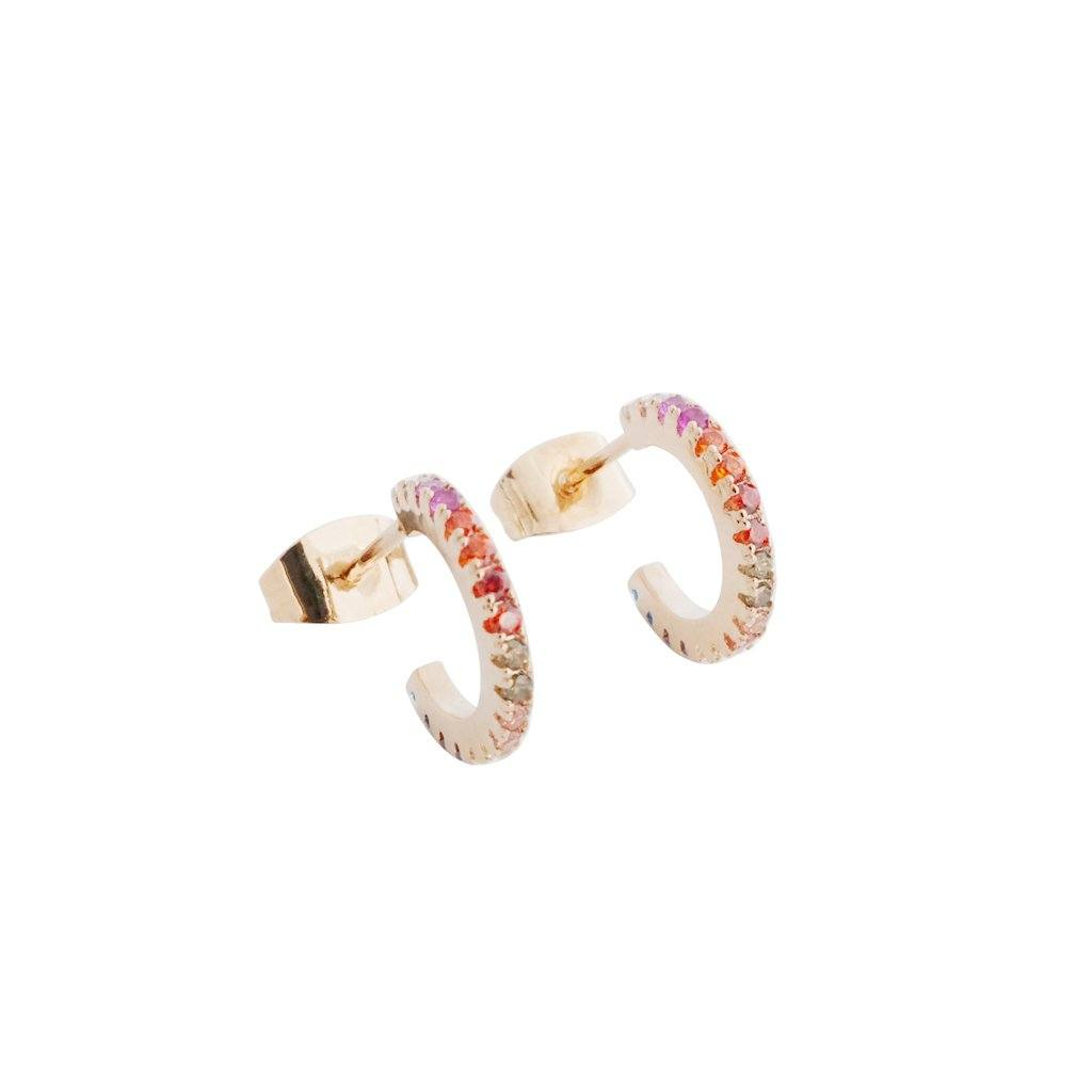 Rainbow Crystal Huggie Hoops Earrings HONEYCAT Jewelry Rose Gold Rainbow