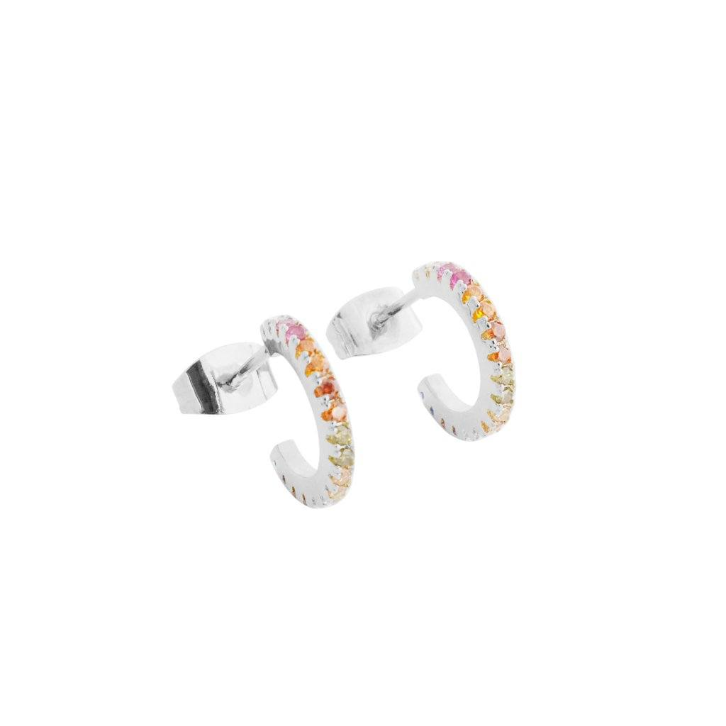 Rainbow Crystal Huggie Hoops Earrings HONEYCAT Jewelry Silver Rainbow