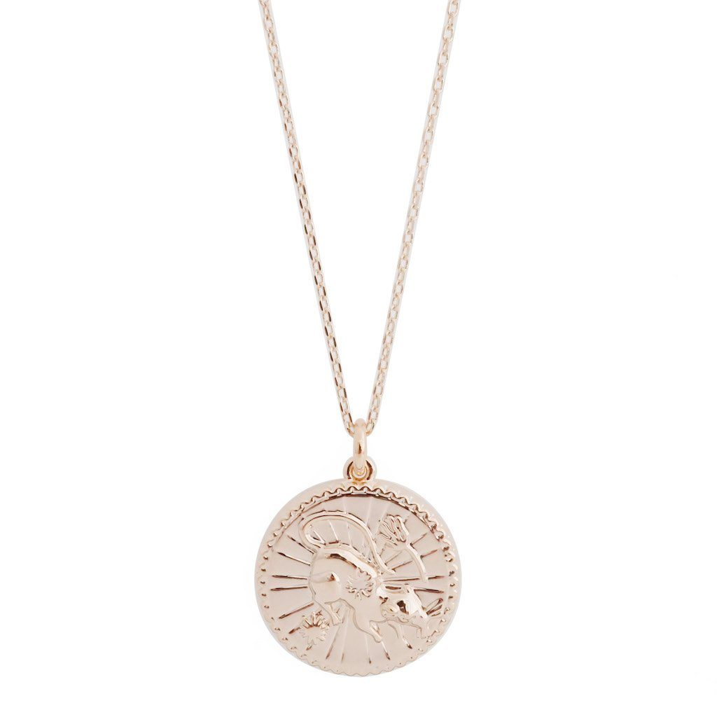 Chinese Zodiac Coin Necklace - Rat Necklaces HONEYCAT Jewelry Rose Gold