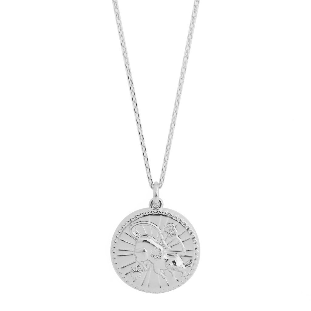 Chinese Zodiac Coin Necklace - Rat Necklaces HONEYCAT Jewelry Silver