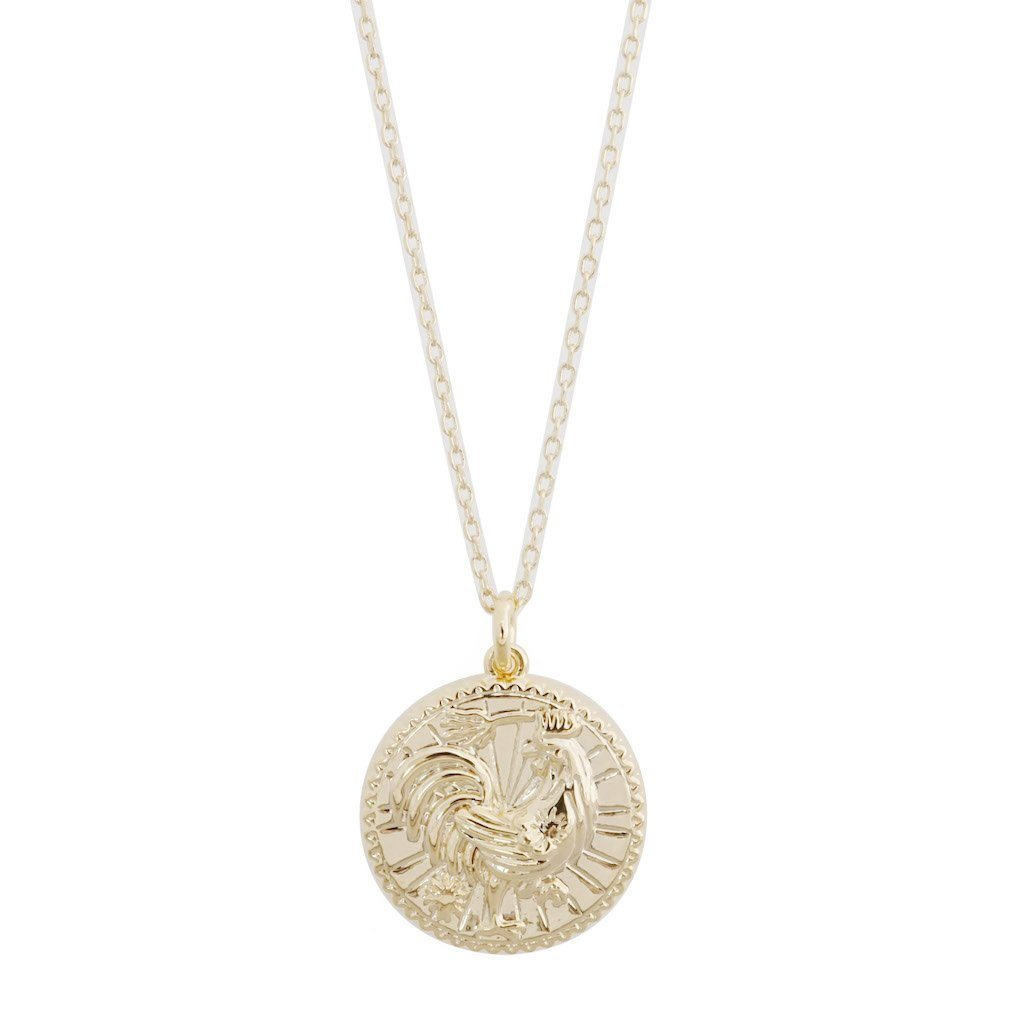 Chinese Zodiac Coin Necklace - Rooster Necklaces HONEYCAT Jewelry Gold