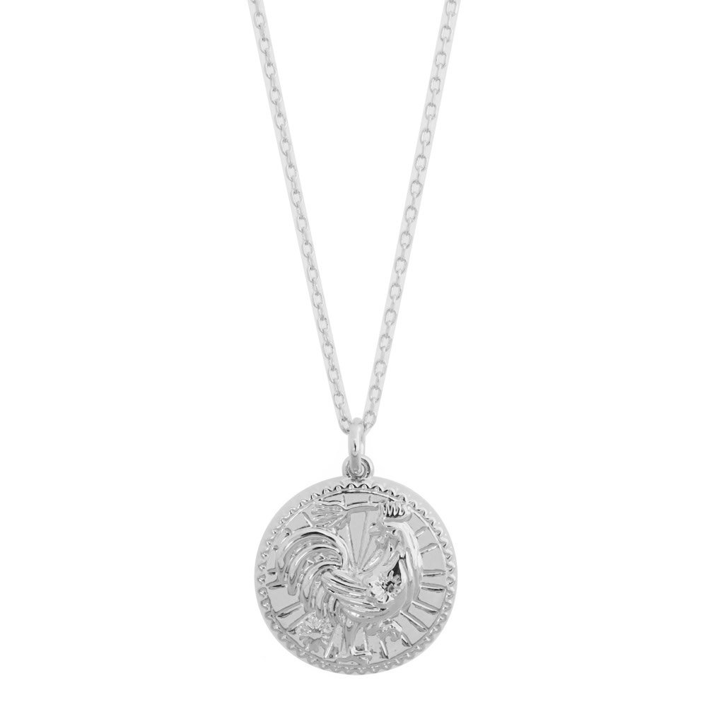 Chinese Zodiac Coin Necklace - Rooster Necklaces HONEYCAT Jewelry Silver