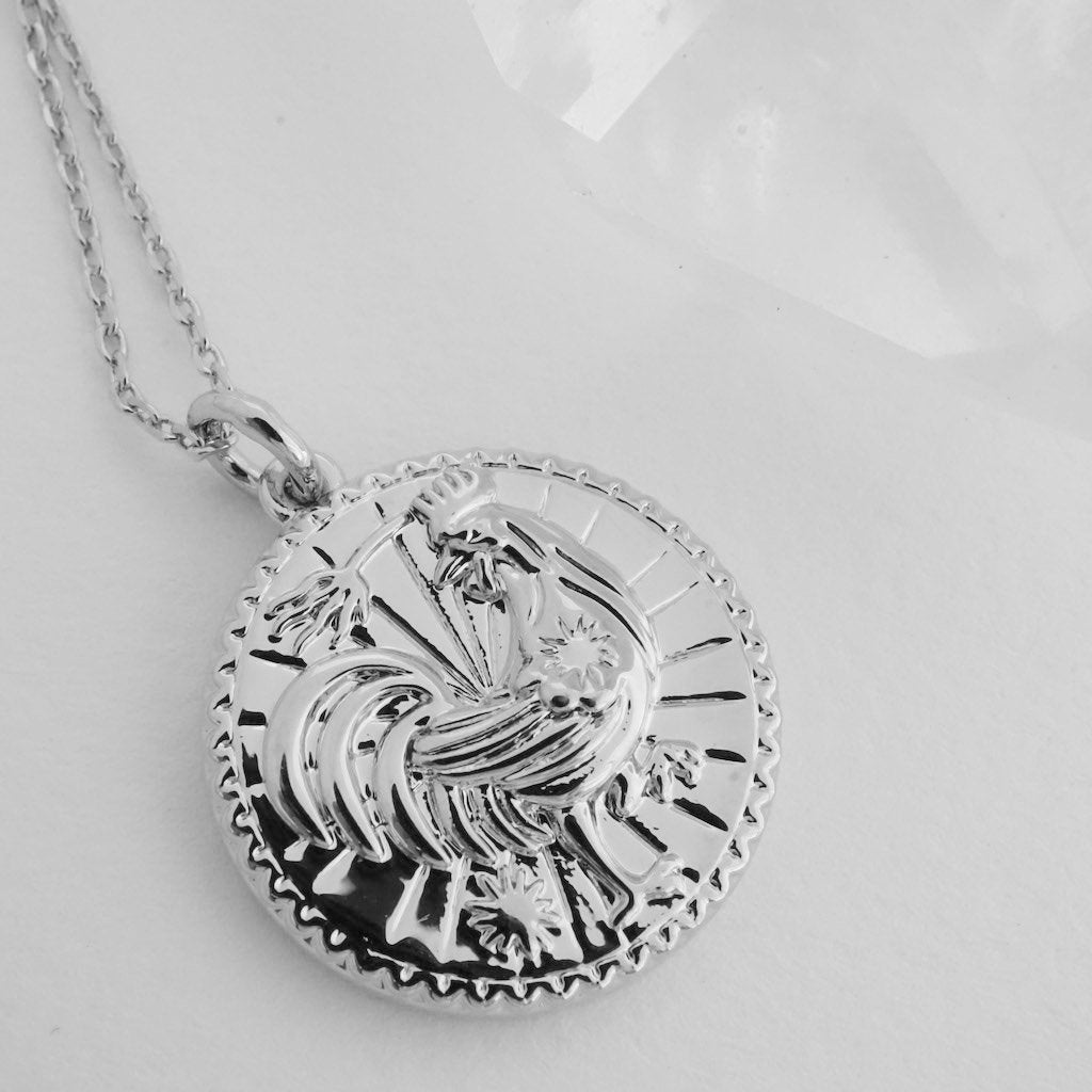 Chinese Zodiac Coin Necklace - Rooster Necklaces HONEYCAT Jewelry