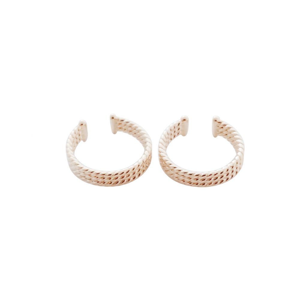 Roped Ear Cuffs Earrings HONEYCAT Jewelry Rose Gold