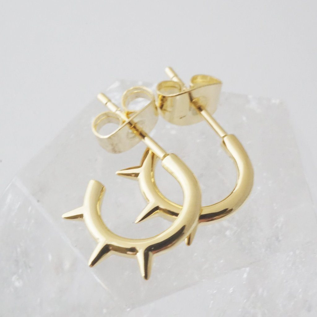 Spike Hoops Earrings HONEYCAT Jewelry Gold