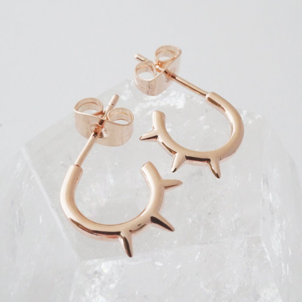 Spike Hoops Earrings HONEYCAT Jewelry Rose Gold