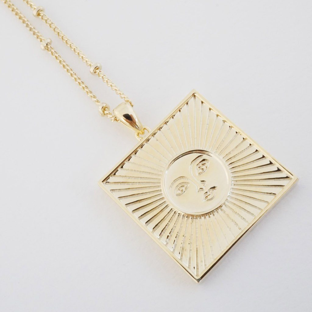 Sun Goddess Plate Necklace Necklaces HONEYCAT Jewelry