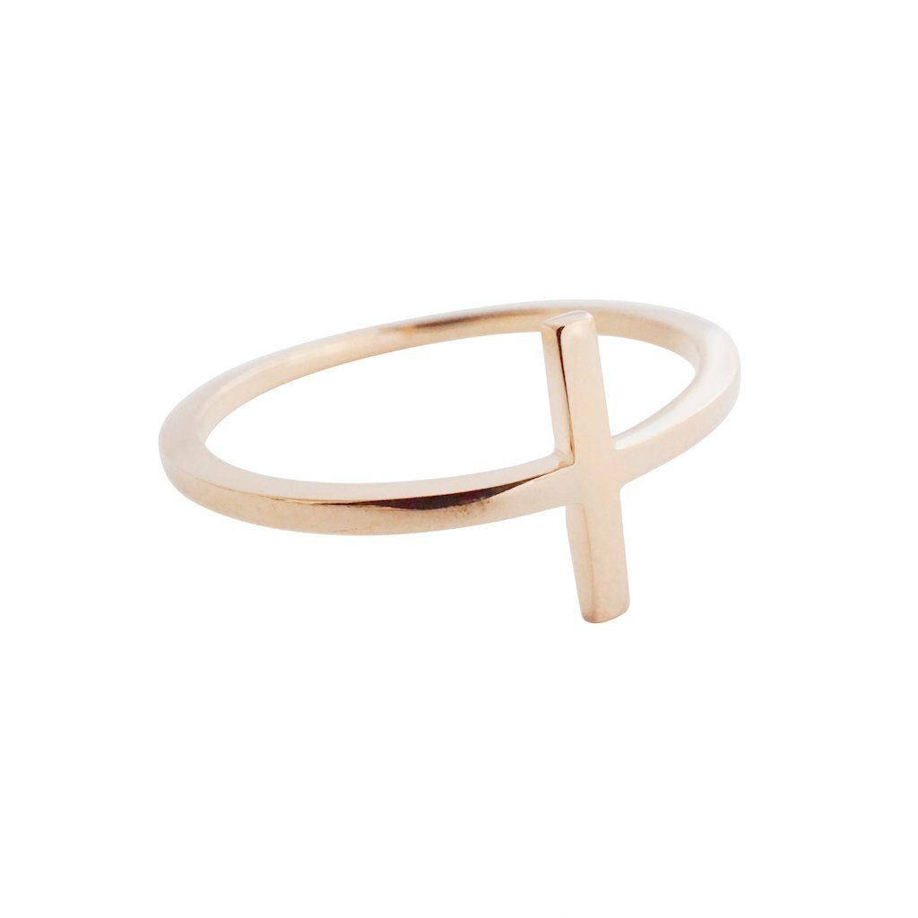 T-Bar Ring Rings HONEYCAT Jewelry Rose Gold 5
