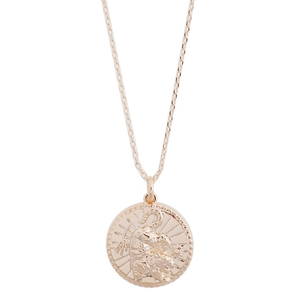 Chinese Zodiac Coin Necklace - Tiger Necklaces HONEYCAT Jewelry Rose Gold