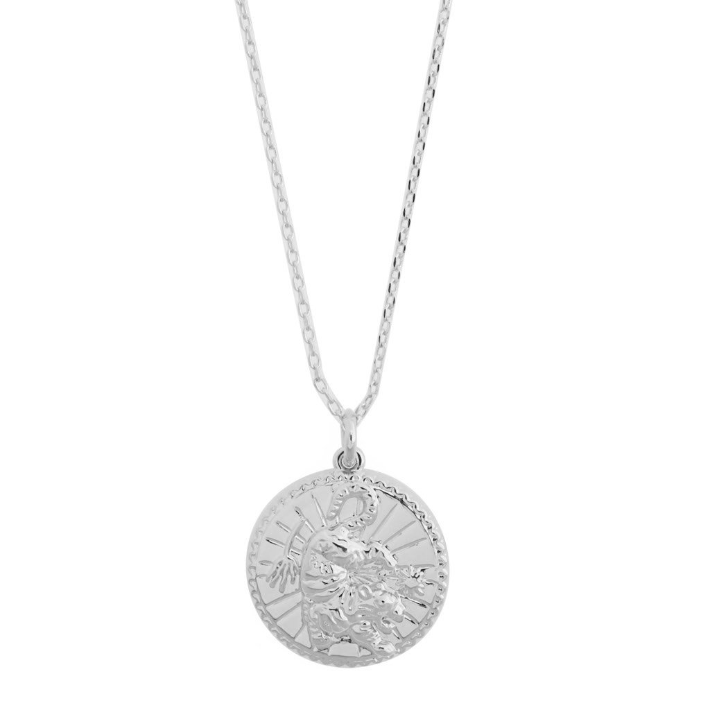 Chinese Zodiac Coin Necklace - Tiger Necklaces HONEYCAT Jewelry Silver