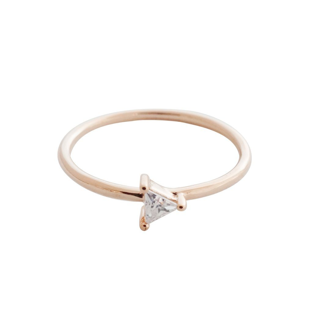 Triangle Solitaire Ring Rings HONEYCAT Jewelry Rose Gold 5