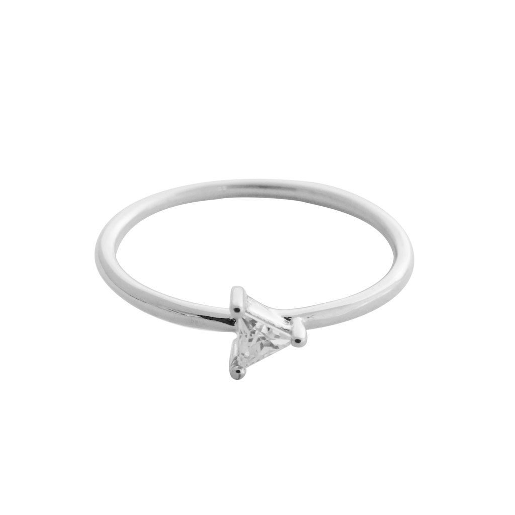 Triangle Solitaire Ring Rings HONEYCAT Jewelry Silver 5