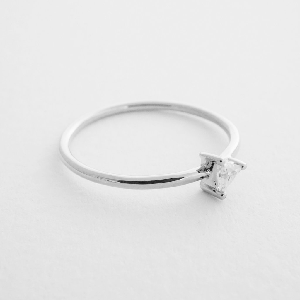 Triangle Solitaire Ring Rings HONEYCAT Jewelry