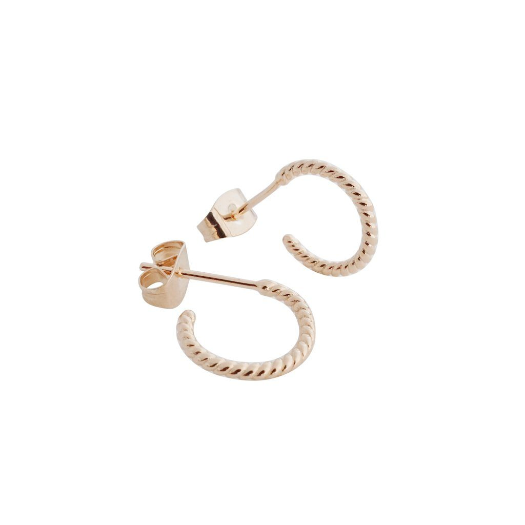 Twisted Rope Hoops Earrings HONEYCAT Jewelry Rose Gold