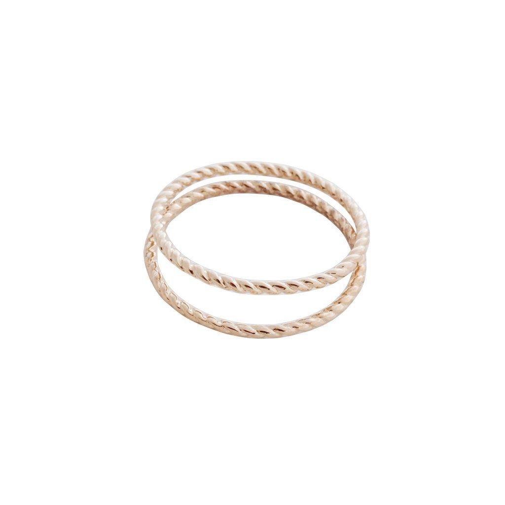 Twisted Rope Rings Rings HONEYCAT Jewelry Rose Gold 5