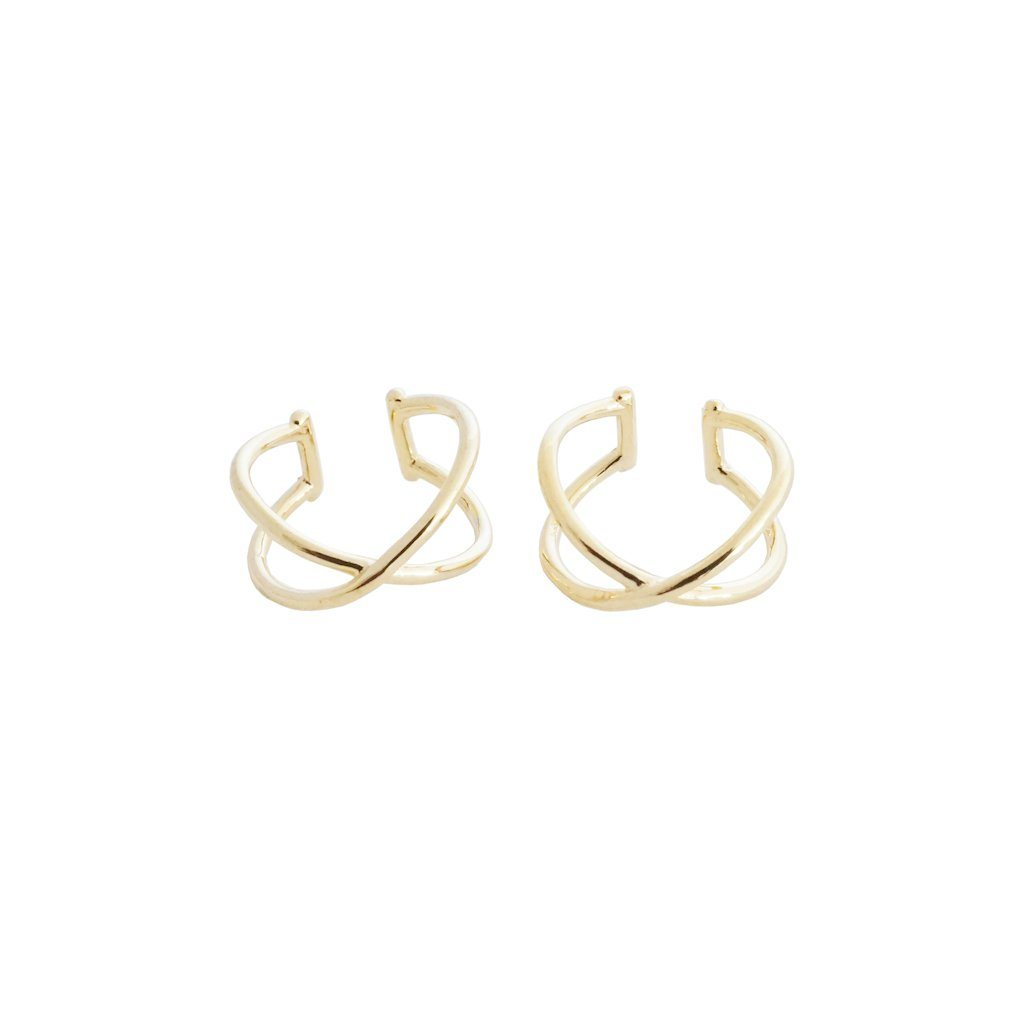 X Ear Cuffs Earrings HONEYCAT Jewelry Gold