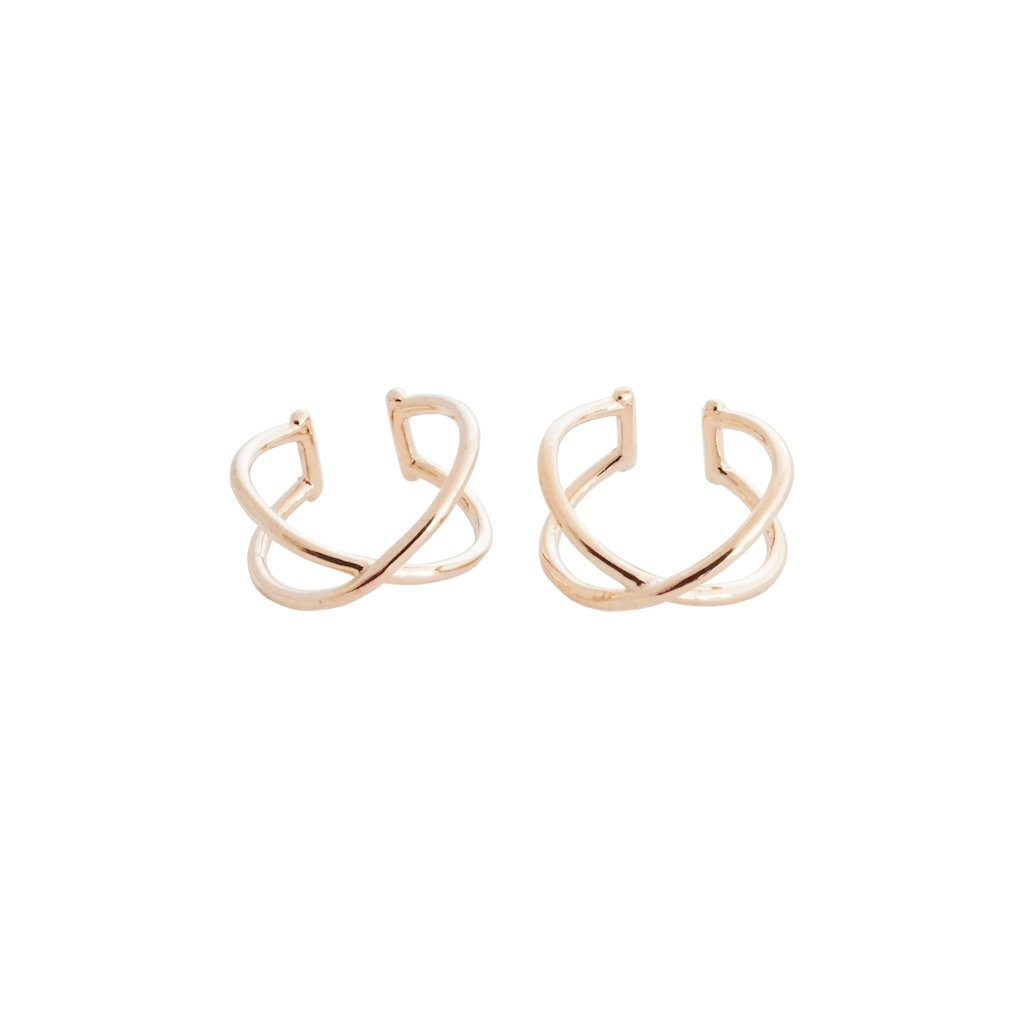 X Ear Cuffs Earrings HONEYCAT Jewelry Rose Gold