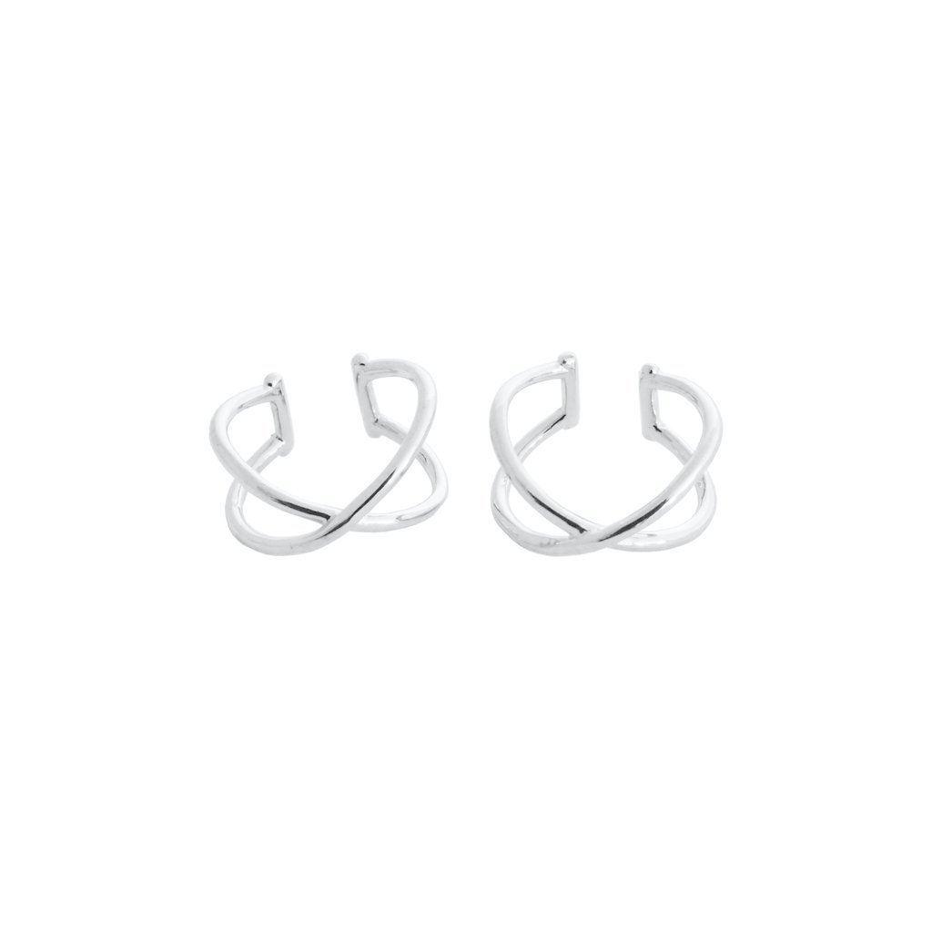 X Ear Cuffs Earrings HONEYCAT Jewelry Silver