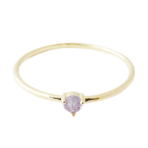 Amethyst Point Solitaire Ring