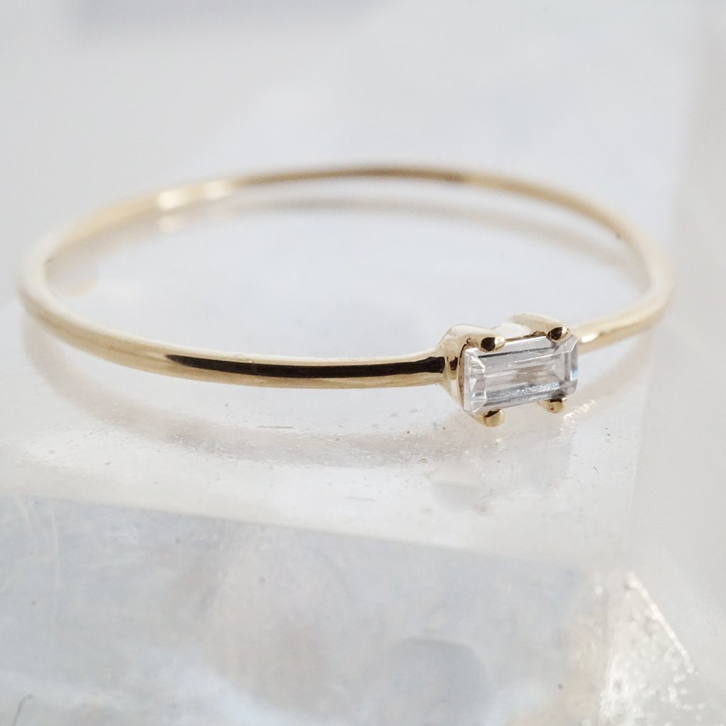 Tiny White Topaz Baguette Ring, 14k Gold