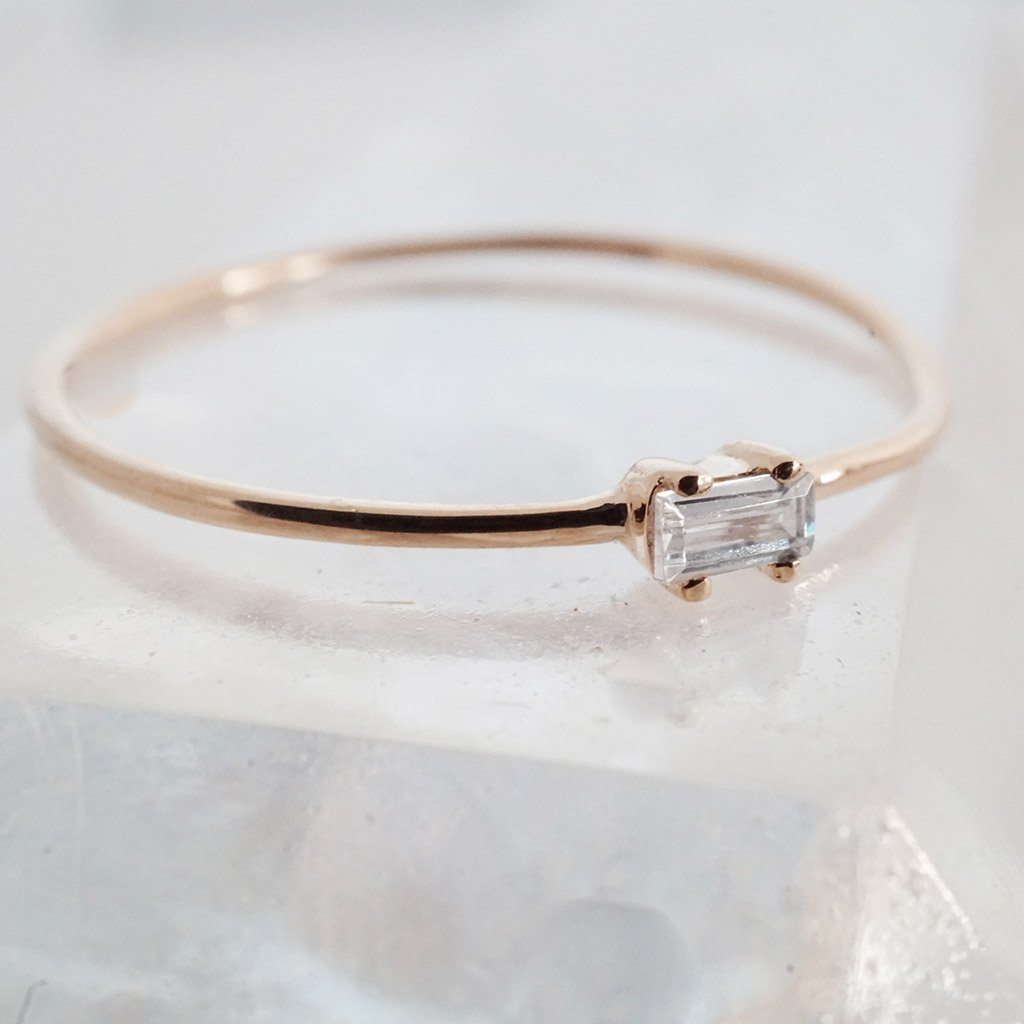Tiny White Topaz Baguette Ring, 14k Gold Rings HONEYCAT Jewelry Rose Gold 5