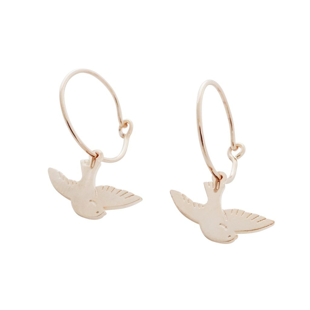 Magic Charm Dove Hoops Earrings HONEYCAT Jewelry Rose Gold