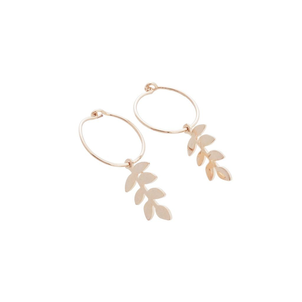 Magic Charm Fern Hoops Earrings HONEYCAT Jewelry Rose Gold