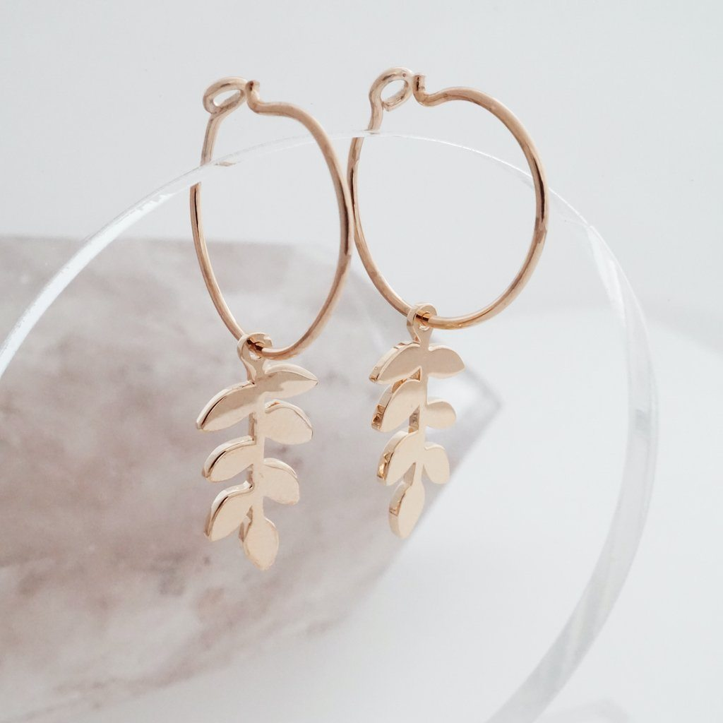 Magic Charm Fern Hoops Earrings HONEYCAT Jewelry
