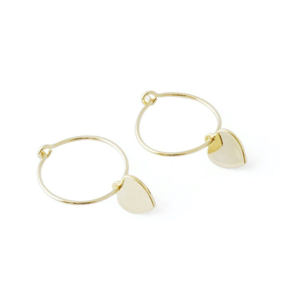 Choosey Heart Hoops Earrings HONEYCAT Jewelry Gold