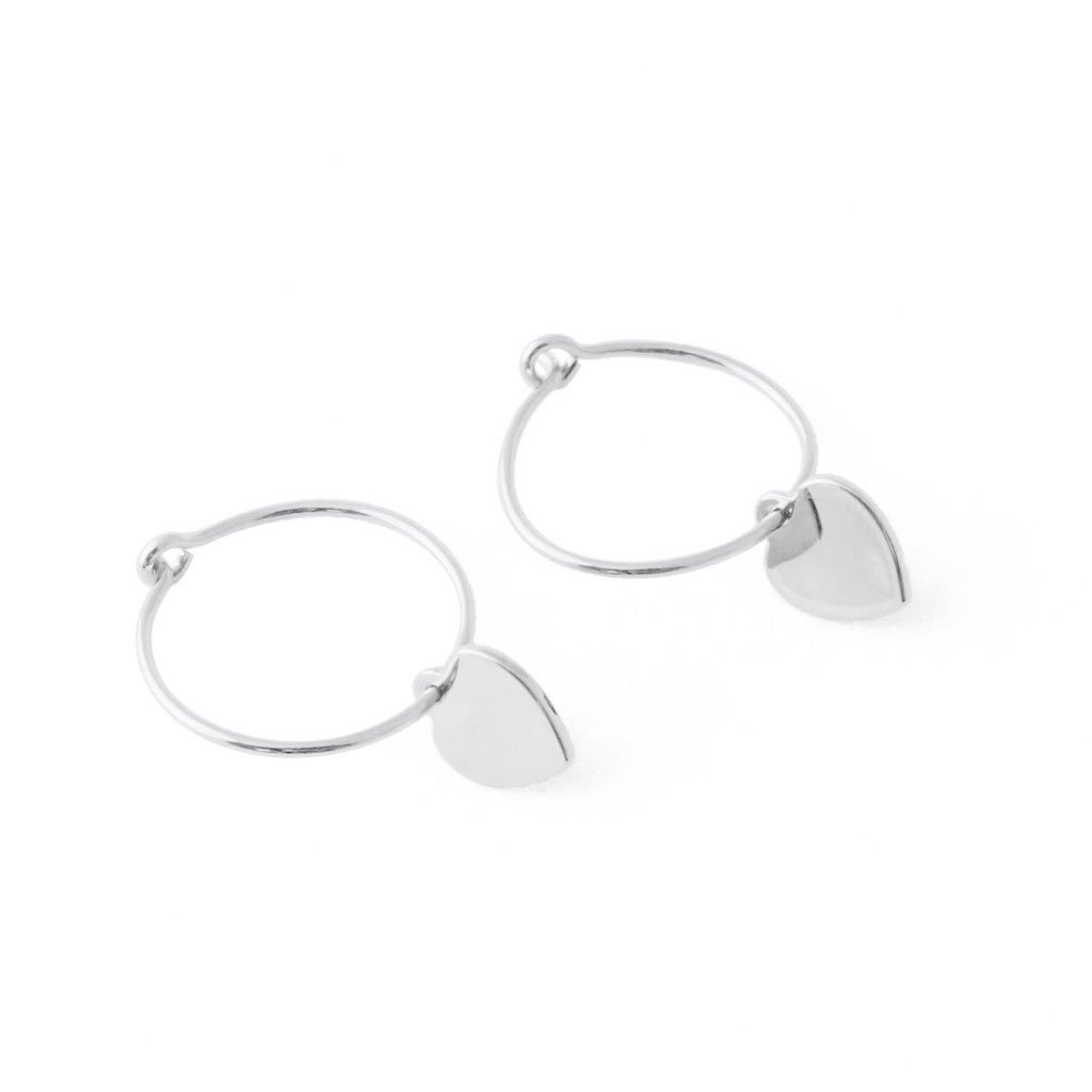 Choosey Heart Hoops Earrings HONEYCAT Jewelry Silver