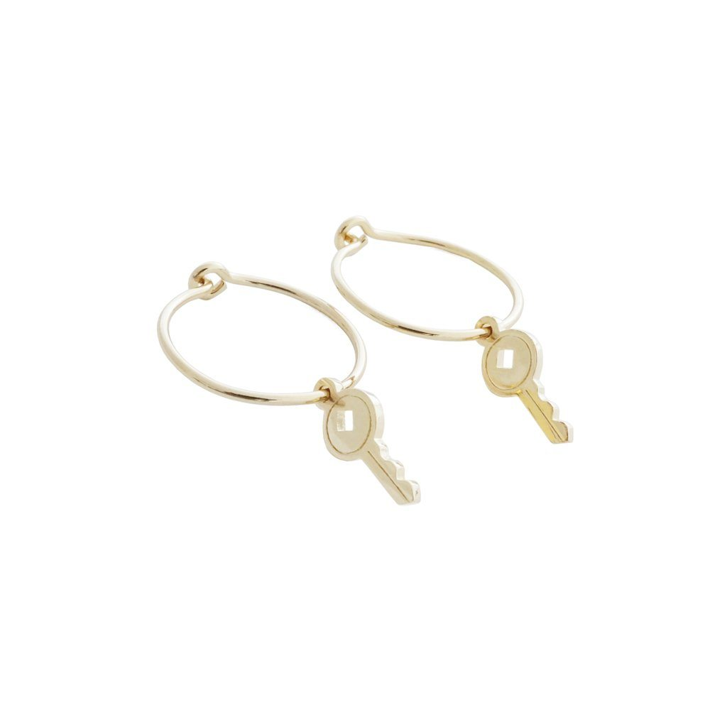 Magic Charm Key Hoops Earrings HONEYCAT Jewelry Gold