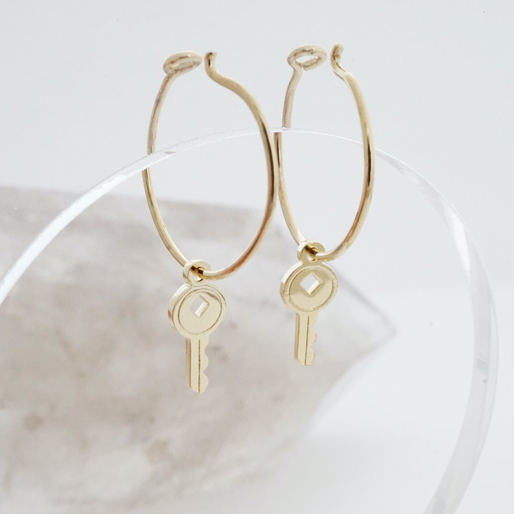 Magic Charm Key Hoops Earrings HONEYCAT Jewelry