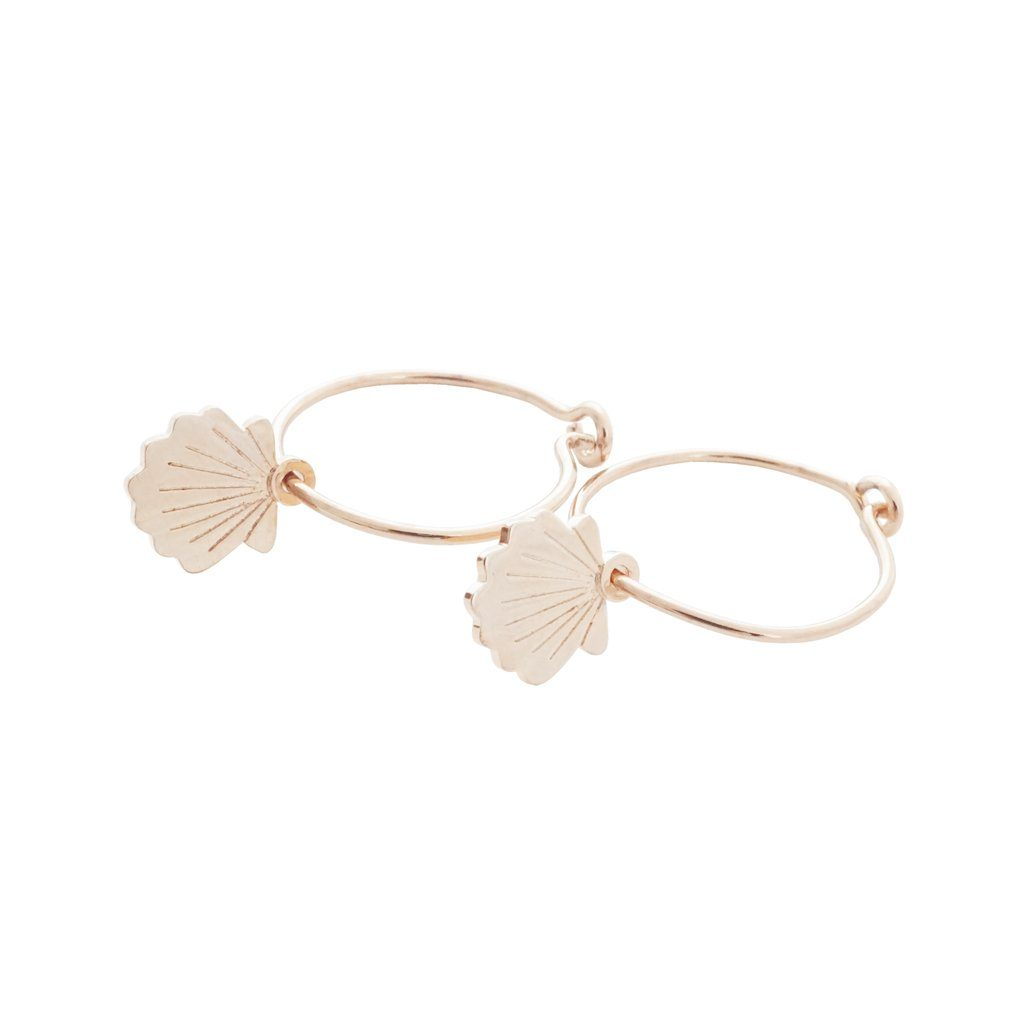 Magic Charm Shell Hoops Earrings HONEYCAT Jewelry Rose Gold