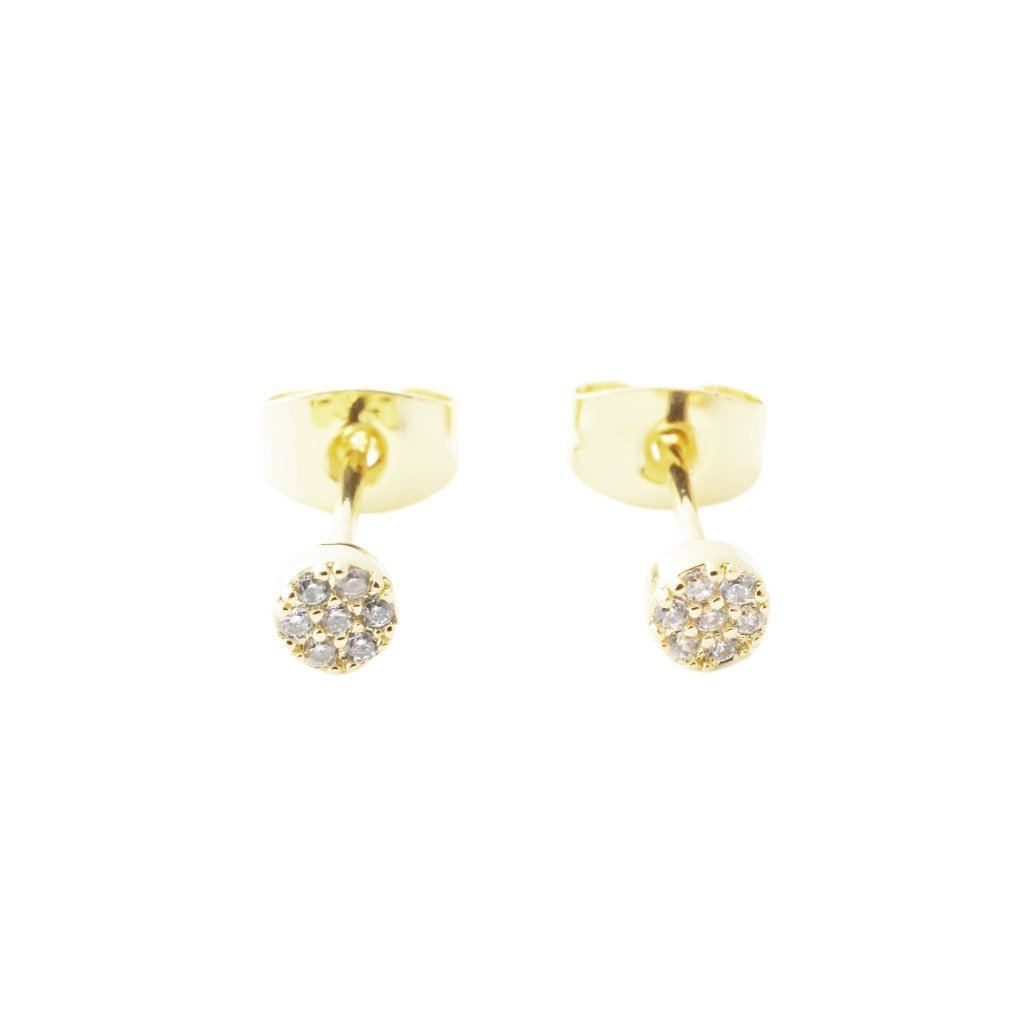 Mini Circle Crystal Stud Earrings Earrings HONEYCAT Jewelry Gold