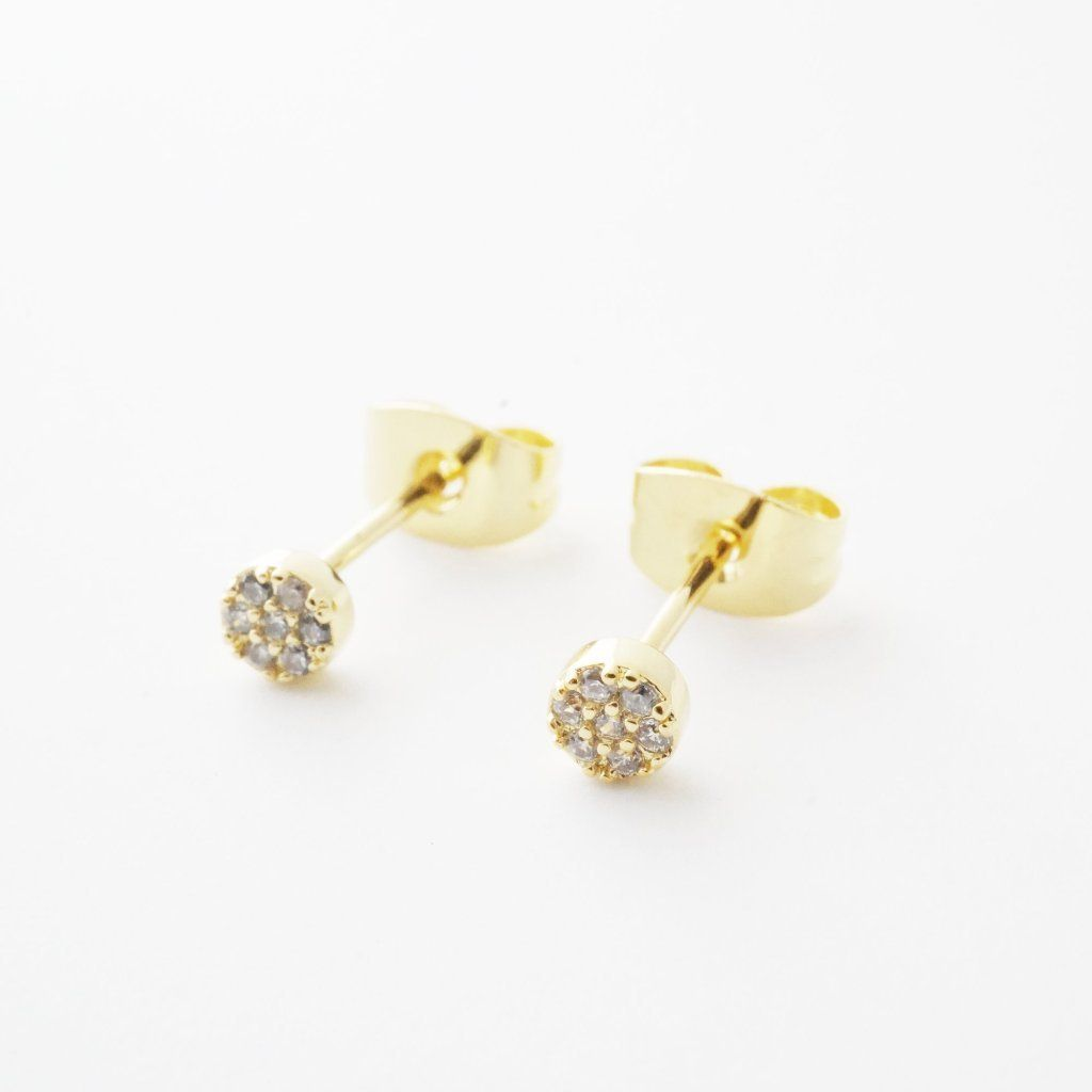 Mini Circle Crystal Stud Earrings Earrings HONEYCAT Jewelry