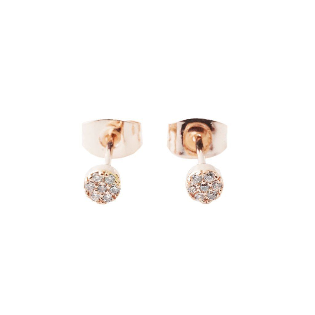 Mini Circle Crystal Stud Earrings Earrings HONEYCAT Jewelry Rose Gold