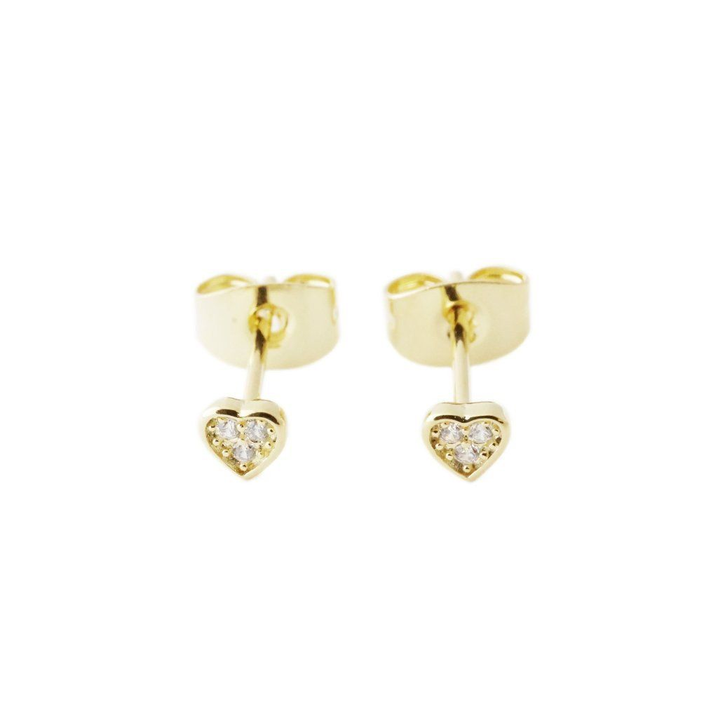 Mini Heart Crystal Stud Earrings Earrings HONEYCAT Jewelry