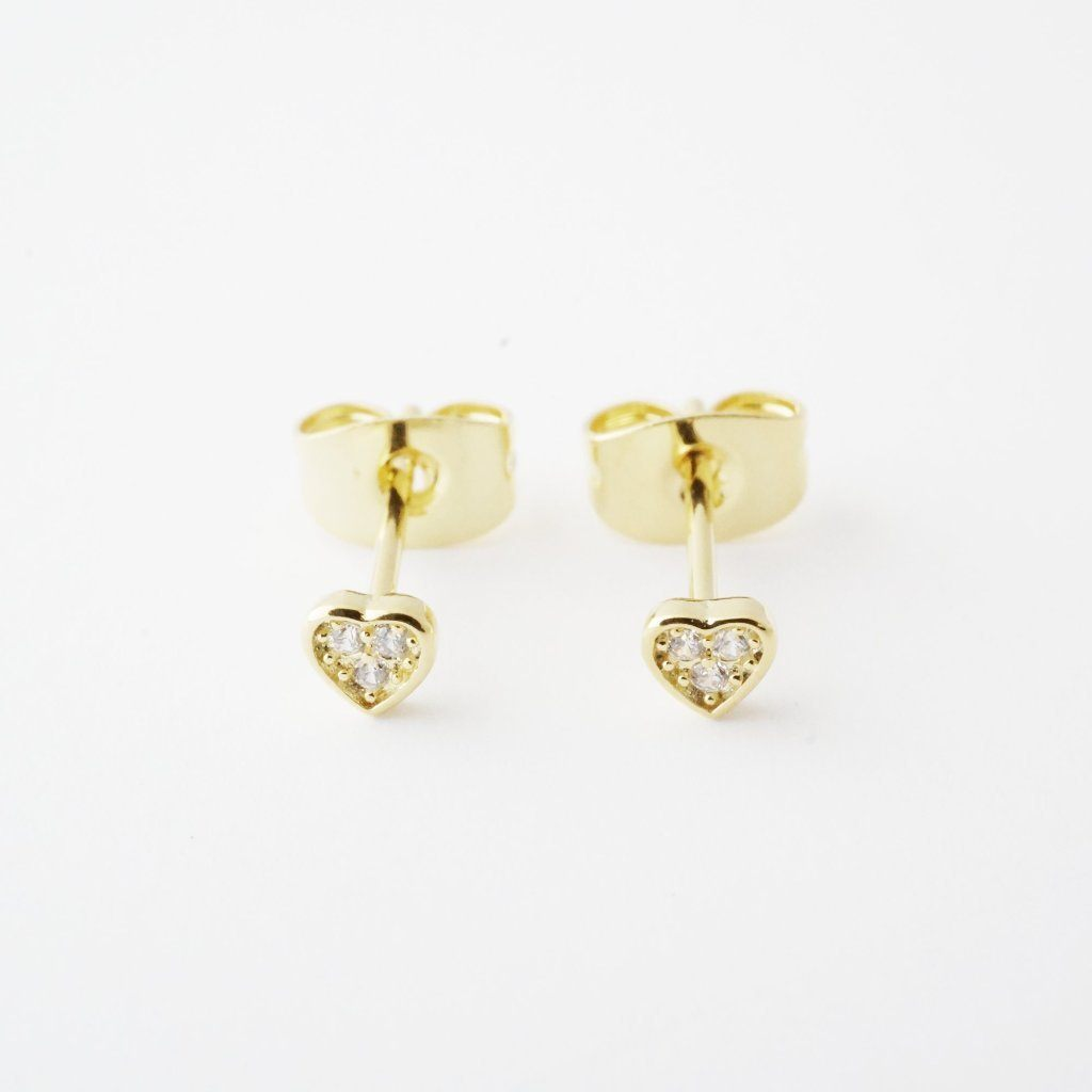 Mini Heart Crystal Stud Earrings Earrings HONEYCAT Jewelry Gold