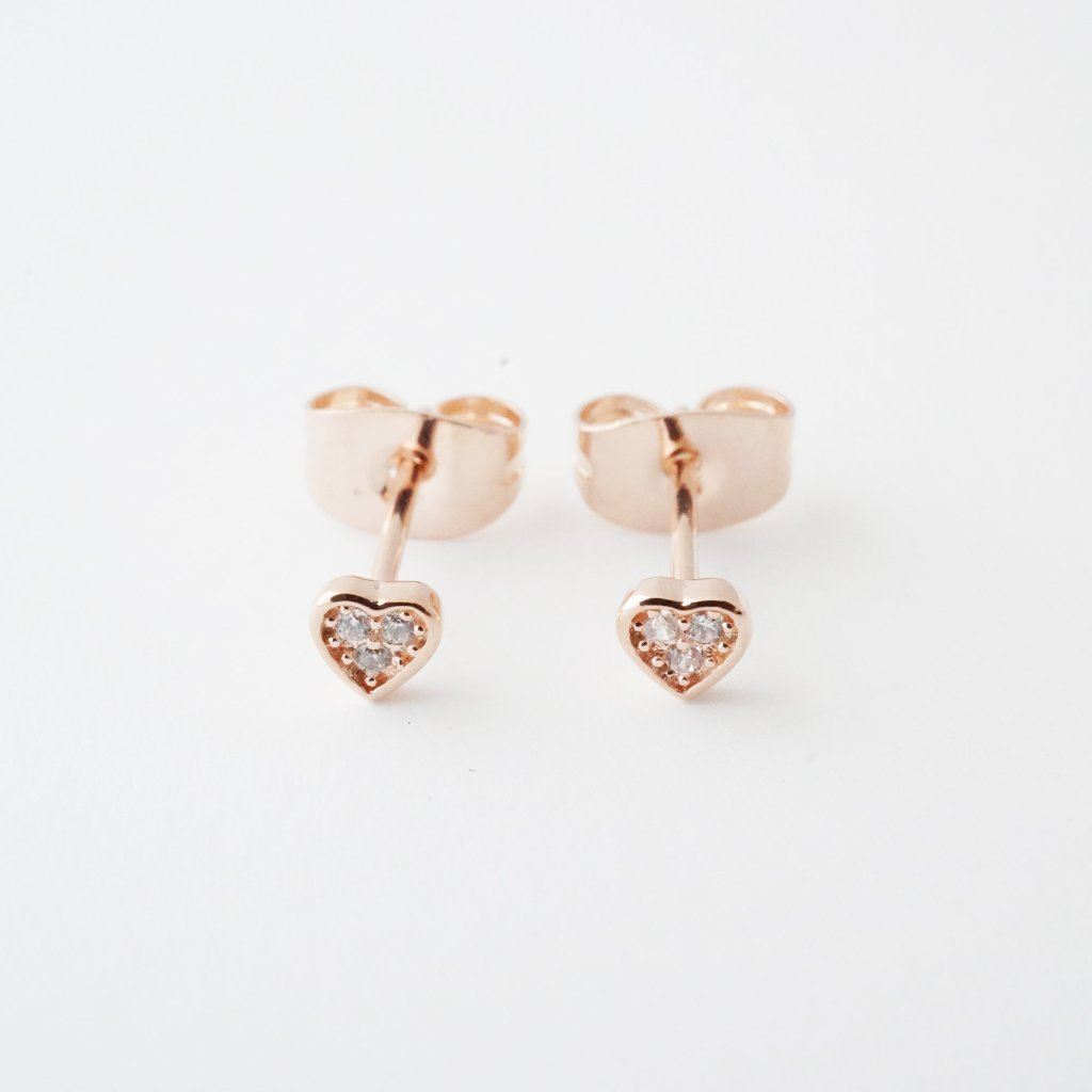 Mini Heart Crystal Stud Earrings Earrings HONEYCAT Jewelry Rose Gold