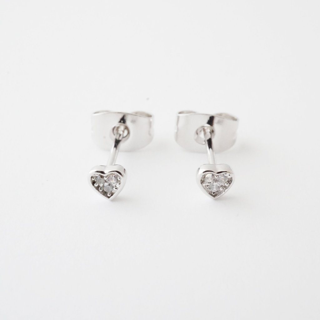 Mini Heart Crystal Stud Earrings Earrings HONEYCAT Jewelry Silver
